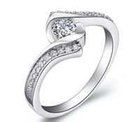 New Arrival 925 Sterling Silver Jewelry Classic Design Wedding Rings Luxury Shiny Cubic Zirconia Crystal Ring For Women