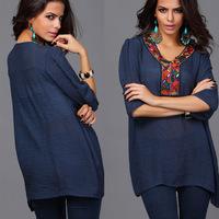 summer blouse women fashion embroidered plus size women clothes L, XL, XXL, XXXL