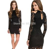 2014 Women Sexy Slim Halter Off-shoulder Lace Mini Pencil Dress Ladies Summer Long Sleeve Black Party Night Club Dresses YT1154