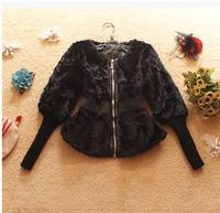 2014 Luxury faux fur mink women's coat new fashion women coat gorgeous upscale fur coat with natural fur coat long E054