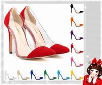 11 CM Vintage Sexy Red Bottom Pointed Toe High Heels Women Pumps Shoes 2014 Brand New Design Less Platform Pumps Tip  LDM8800