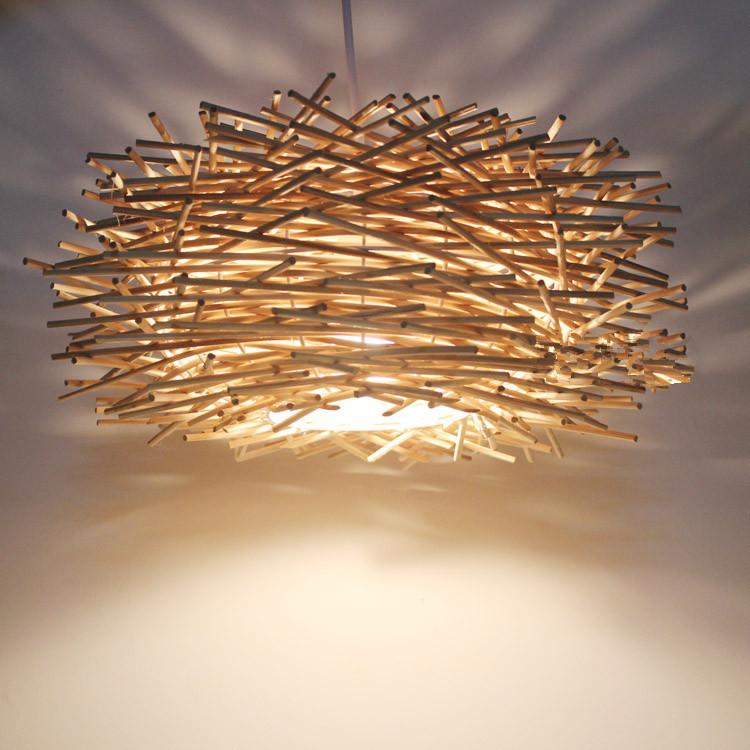 Slaapkamer Lamp : E v hanglampen rotan vogelnest bar houten slaapkamer ...