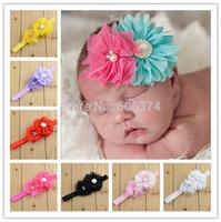New Pearl Flower Headband Headwear Chiffon Mesh Baby Girls Hair Accessory with Rhinestone Fashion Baby Hairband Free Shipping