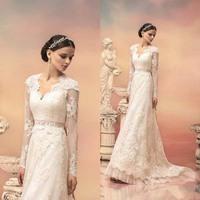 2015 Wedding Dress V-Neck Lace Long Sleeve Appliques Ribbon Wedding Gown White Bohemian Lace Bridal Dress HS032