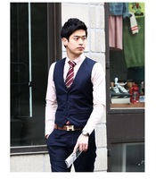 Most Popular Men Korean Fashionable Slim Fit Suits Free Shipping 2014 New Men Suits Simple Style Casual Vest
