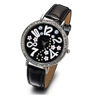 Free Shipping New Arrival Hot Sale  Beautiful Pattern PU Leather Band Quartz Wrist Watch for Girls Best Present