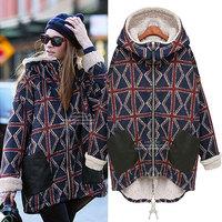 New cotton-padded coatfashion torx flag long-sleeve wadded jacket cotton-padded winter coat women oversized outwear thickening