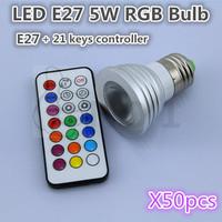 Free shipping, highlight 5 w RGB LED lamp, 85-245V + 21 key controller, quality assurance 50PCS/lot