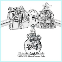 Authentic 925 sterling silver christmas jewelry sets -present/snowball/christmas tree charms sets for women diy bracelets NS63