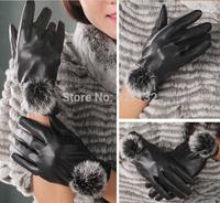 New  Womens Warm Gloves  PU Leather gloves genuine Rabbit Fur Lady Winter Glove Fashion Warm Glove