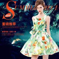 2015 Spring bohemian flowers print dress fresh pretty ball gown dress  student summer sleeveless slim colourfull dress