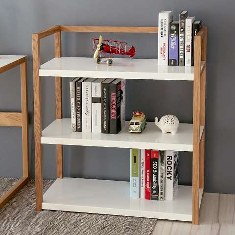 Simple wood bookcase shelves shelving simple modern three bulkhead storage rack shelf display rack IKEA(China (Mainland))