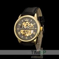 New Gold Men's Dress Skeleton Men Mechanical Automatical Wrist Watches