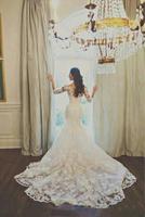 Lace 3/4 Long Sleeve Mermaid Wedding Dresses Vestido de noiva with veil petticoat