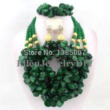 Green African Nigerian Wedding Beads Jewelry Set Coral Jewelry Set Coral Beads Necklace Set African Jewelry Set   W7134(China (Mainland))
