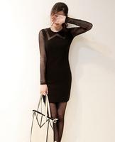 New Fashion Black Sexy Women's Ladies Floral vestidos Lace Dress Long Sleeve Bodycon Evening longos Dress