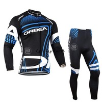 Free shipping! Orbea 2014 team Winter thermal fleeced clothes long thick cycling jersey pants bicycle wear set+gel pad
