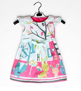 2015 best-selling children's Girls girdle Small Fly sleeve Dress baby rabbit fox mushroom letters printing dresses(China (Mainland))