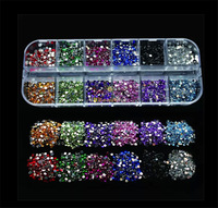 1 Case New 3d Mixed Color Nail Art Acrylic Tips Glitter Crystal Rhinestones Charms DIY Nail Art Decorations Sticker Tools #NC032
