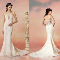 2015 Luxurious Lace Mermaid Wedding Dresses Sexy Ivory Strapless Appliques Wedding Gowns Slim Cut Out Back Bridal Dress HS039