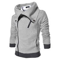 2014 New Mens Winter Fashion Slim Thicken Pure Color Sportswear Lapel Hedging Sweatshirt Casual Jacket Size L-XXL High Quality
