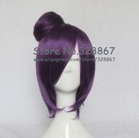 Hot Anime Naruto Akachiki Konan Dark Purple Cosplay Wig with Bun