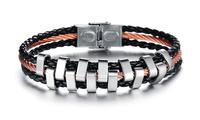 Best Christmas Jewelry Silver Mens Chain Link Bracelet Colorful Stainless Steel Woven Bracelet for Men & Women 3pcs/lot, BC1680