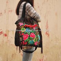 Original National Style Embroidery Shoulder Bag Emroidered Messenger Bag Ladies Fashion Travel beads tassel Large handbag