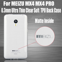 1PC 2014 new 0.3mm Ultra Thin Slim matte inside Clear TPU Back Cover Soft Case for MEIZU MX4 MX4 PRO NO: MX03