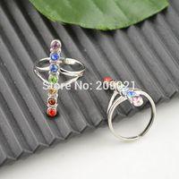7 Chakra Healing Rhinestone Crystal Butterfly Finger Ring Jewelry 10pcs