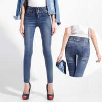 14 new autumn and winter high waisted dark jeans woman show thin elastic jeans pencil pants jeans