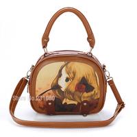 Cartoon Style PU Leisure bag Shoulder Bag Diagonal Package Female Bag Girls Retro Handbag