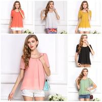 Fashion Candy Color Summer Women Blouses Shirts Short Sleeve Chiffon Blouse Casual Shirt Top Plus Size blusas femininas S-XXL
