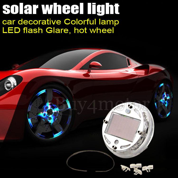 4PCs Auto Colorful RGB Waterproof flash Glare Car Solar Power energy Light Lamp 12 LED Wheel Tire decorative Lightings #4509*4(China (Mainland))
