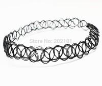 Free Shipping 500pcs/lot Vintage Stretch Tattoo Choker Necklace Retro Henna Black Elastic