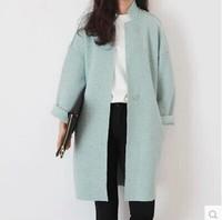 2015 spring autumn and winter loose outerwear female wool blends coat medium-long loose woolen oversized coat women