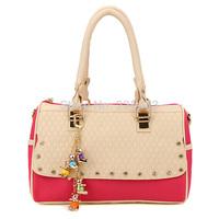 2014 bags for rhinestone color block handbag shoulder messenger bag women bucket bag