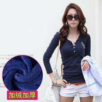 Autumn and winter Korean V-neck T-shirt embroidered long-sleeved t-shirt Slim bottoming shirt plus thick velvet casual t-shirt