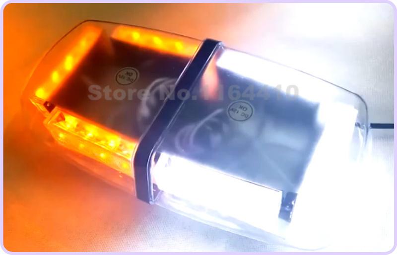 Hot Amber/White 24 LED 3 Gen Enforcement Emergency Warning Waterproof Magnetic Led Light bar Mini Strobe Lightbar Flash Grille(China (Mainland))