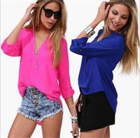 Temperament Casual Shirt Women Spring Summer 2014 Long Sleeve Chiffon V-neck Blouse