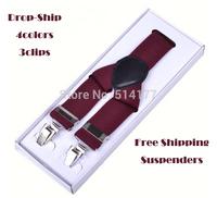 2015 classic brace suspenders 3.5cm width 3clips Clip-on Adjustable Straps Pants Fully Elastic Y-back Suspender belt Braces