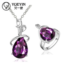 10sets/lotFVRS050 2015 new fine jewelry sets Extravagant Party jewlery set for lady Fashion Big Crystal set Necklace and Ring