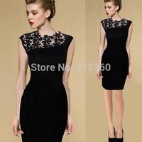 Fashion irregular oblique slim elegant quality lace cutout evening one-piece dress free shipping