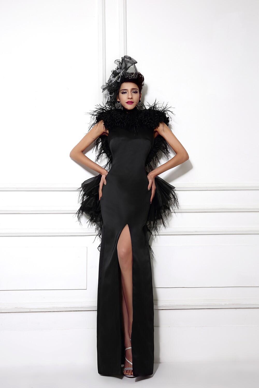 Aliexpress Buy Elegant Black Real Evening Dresses With Feather Mermaid Satin Robe De