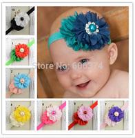 New Hot Sale Baby Chiffon Flower Headband with Colorful Rhinestone Beautiful Kids Girls Hairband with Diamond Hair Accessory