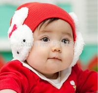 Cute Infant Baby Girls Boys Warm Rabbit Bomber Hats Children Winter Caps Bomber Hats Free Shipping