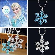 Girl Silver Frozen Snowflake Necklace Pendant Dress Up Chain Elsa Anna XMAS Gift(China (Mainland))