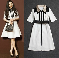 LST2014 new women's autumn spell of black and white dress star models temperament gift belt H6671