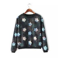 Women Fashion Floral Print Sweatshirt Ladies Casual Thick Fleece Lining hoodies Autumn Winter Oversized Sport Suit