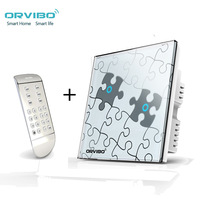 Orvibo T020 Smart Switch Panel  Timer Metope Wireless Touch Remote Lamps Art Puzzle 2 Gang w remote Control Free Ship Smart home